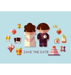 Save the date set flat design vector
