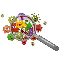 Cartoon bacteria under a magnifying glass vector