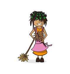 Profession housewife woman cartoon figure vector