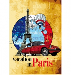 Vacation in paris grunge vector