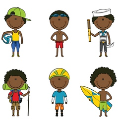 African-american summer boys vector