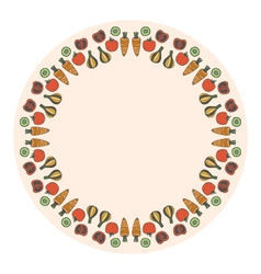Decorative round vegetables frame on the backgroun vector