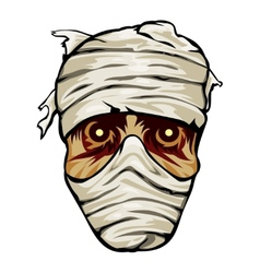 Ghoulish face of a mummy wrapped in bandages vector