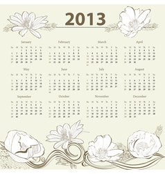 Calendar for 2013 with flowers vector