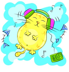 Yellow fat cat listening to music on headphones vector