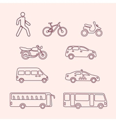Transportation icons of pedestrian bike scooter vector