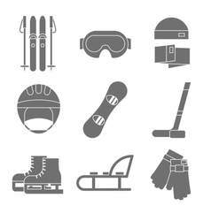 Icon set of winter sport flat design vector