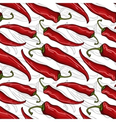 Seamless pattern with decorative chili peppers vector