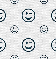 Winking face icon sign seamless pattern with vector