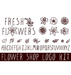 Logo kit for flower shops vector
