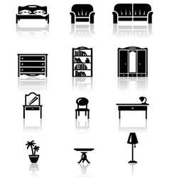 Black and white furniture icons set vector
