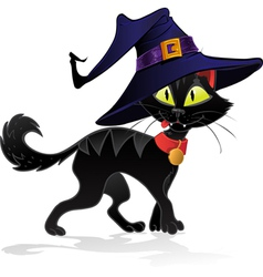 Black terrible withc halloween cat vector