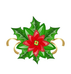 Flower poinsettia for christmas decoration vector