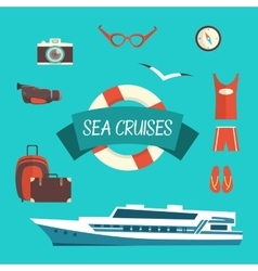 Tourism concept image sea vacation flat vector