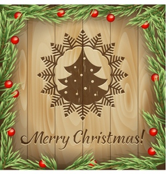 Christmas fir-tree wood background vector