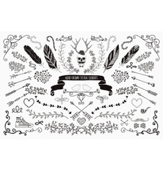 Hand-drawn floral design elements vector