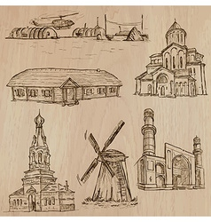 Architecture famous places - hand drawn vector