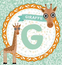 Abc animals g is giraffe childrens english vector