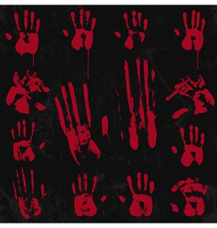 Bloody hand print set 02 vector