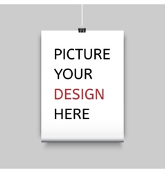 Sheet of paper on clamp for your design vector
