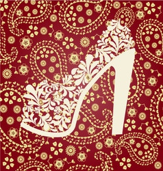 Fashion pattern shoes on a high heel vector