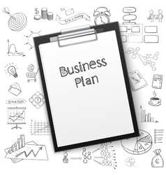 Business plan on tablet with paper and hand draw vector