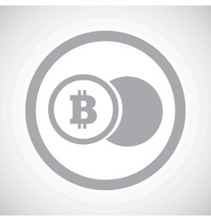 Grey bitcoin coin sign icon vector
