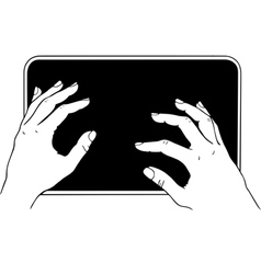 Typing on tablet pc vector