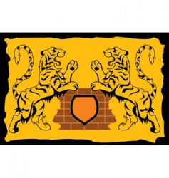 Heraldic sign tiger vector