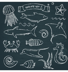 Sealife chalkboard set 2 vector