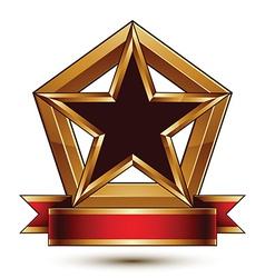 Golden stylized symbol with black star and vector