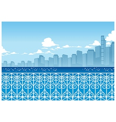 Seaside cityscape background vector