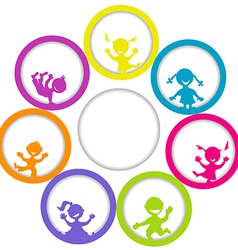 Circle frame with children and place for your text vector