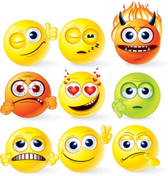 Funky smilies set2 vector