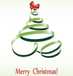 Christmas ribbon tree vector