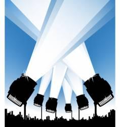 Spotlights in the urban sky vector