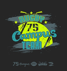 Rugby emblem campus team vector