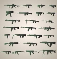 Assault rifles silhouette vector