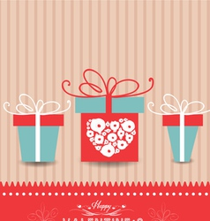 Valentines day card with gifts vector