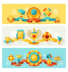 Horizontal banners with trophy and awards in flat vector