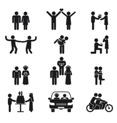 Relationship and wedding people icon set vector