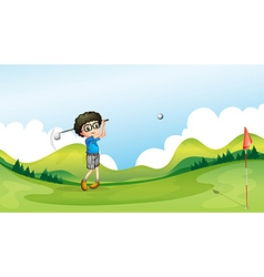 A boy playing golf at the field vector