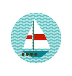 Boat with a white sail on the waves vector