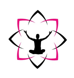 Yoga fitness with abstract lotus vector