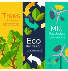 Set of flat design eco concepts vector