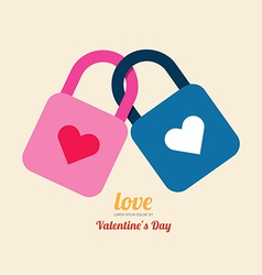 Valentine heart lock symbol vector