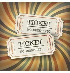 Retro tickets on sunburst vector