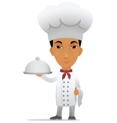 Chef with main course vector