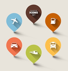 Set of retro round flat transport pointers vector