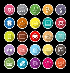Quality life line flat icons with long shadow vector